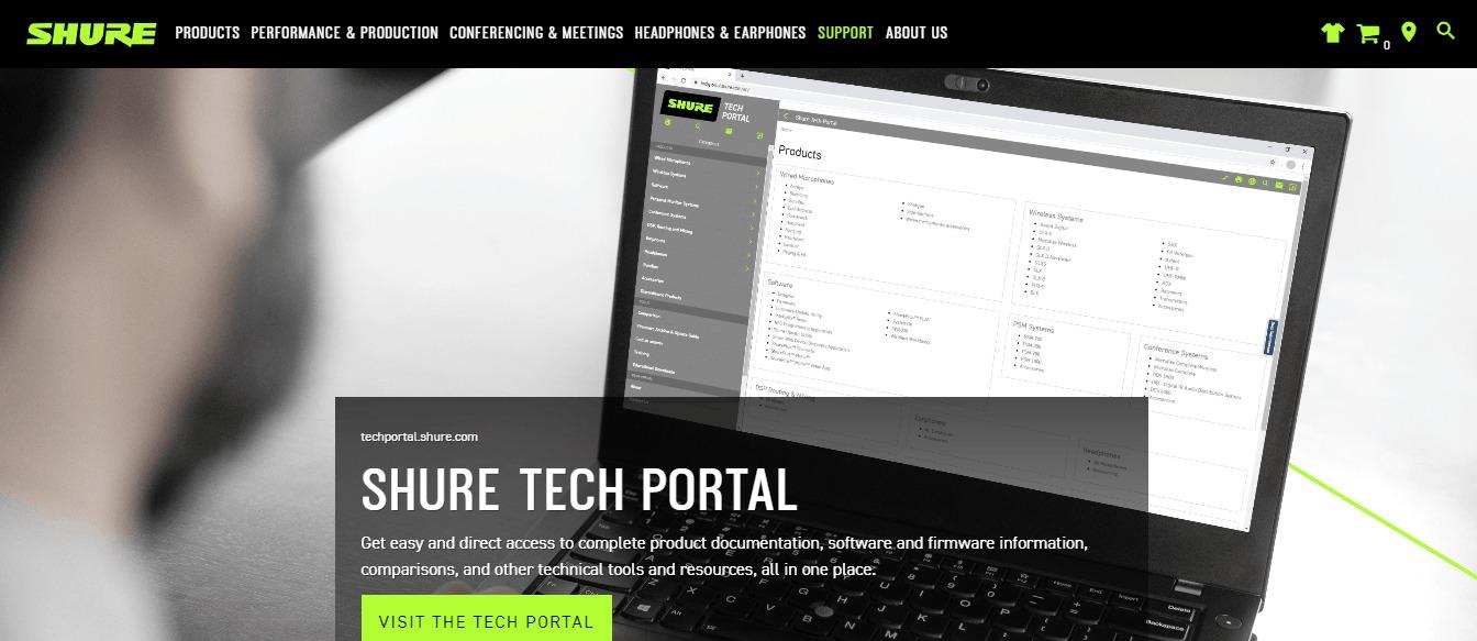 portal tecnológico Shure Tech Portal